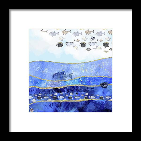 Climate Change Framed Print featuring the digital art Fish in the Sky - Surreal Climate Change by Andreea Dumez