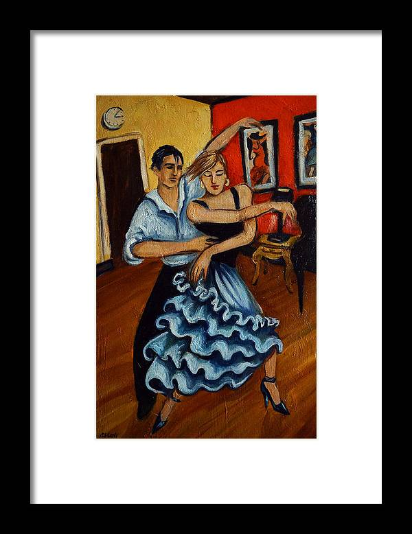 Dancers Framed Print featuring the painting Flamenco by Valerie Vescovi