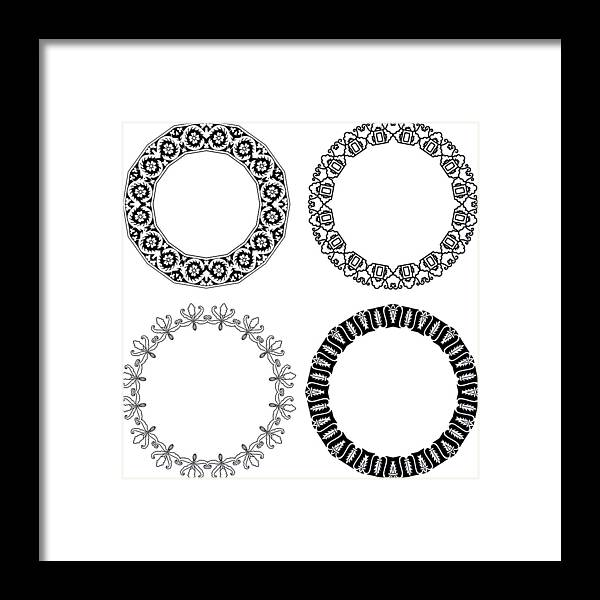 Black Color Framed Print featuring the drawing Flower ornamental rings by Ninochka