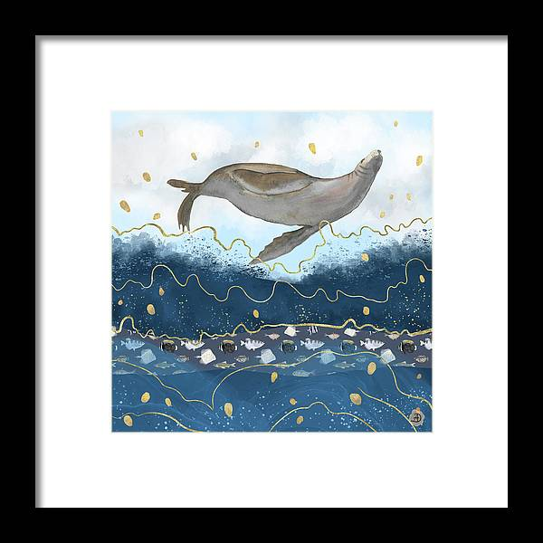 Watercolor Framed Print featuring the digital art Flying Seal - Rising Waters Surreal Climate Change by Andreea Dumez