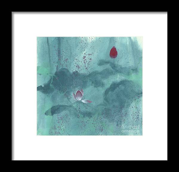 Emerged Out Of The Sludge Framed Print featuring the painting For the Love of Lotus by Mui-Joo Wee