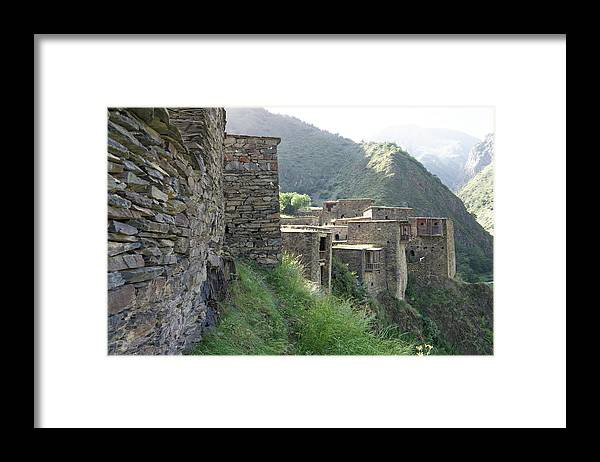 Built Structure Framed Print featuring the photograph Fortified houses on the cliffs, Shatili, Caucasus Mountains, Georgia by Vyacheslav Argenberg