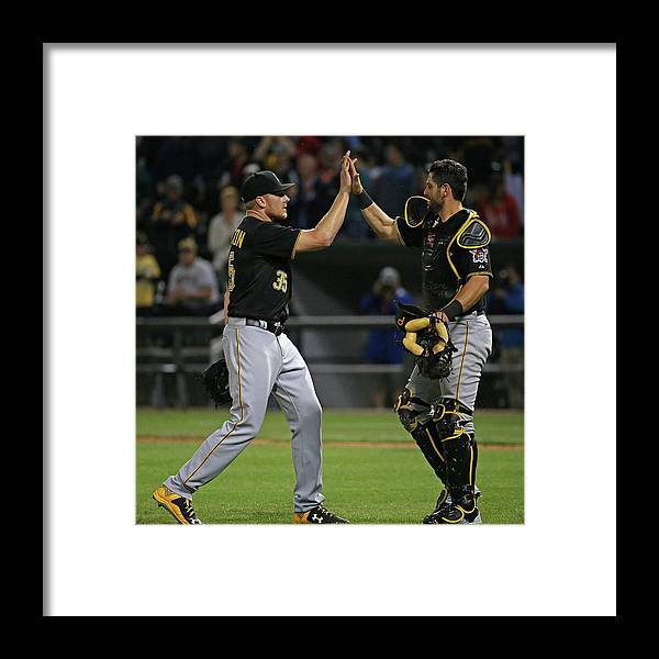 People Framed Print featuring the photograph Francisco Cervelli and Mark Melancon by Jonathan Daniel