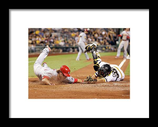 St. Louis Cardinals Framed Print featuring the photograph Francisco Cervelli and Mark Reynolds by Justin K. Aller