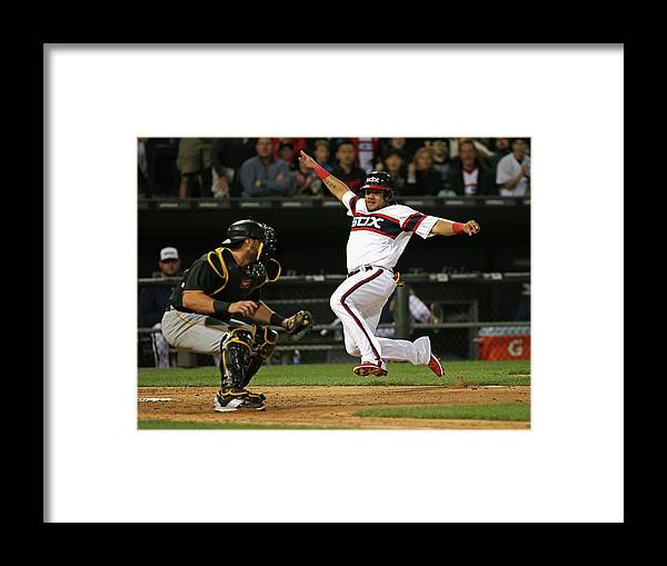 American League Baseball Framed Print featuring the photograph Francisco Cervelli and Melky Cabrera by Jonathan Daniel