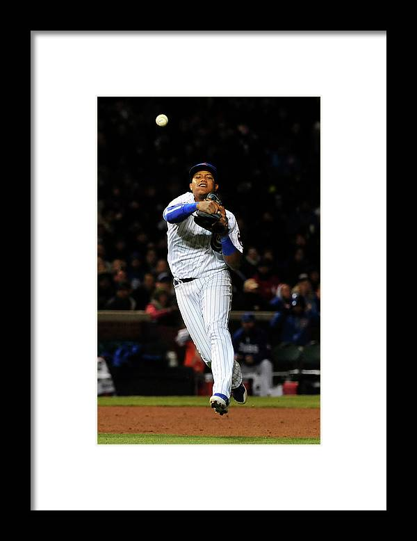 People Framed Print featuring the photograph Francisco Cervelli and Starlin Castro by David Banks