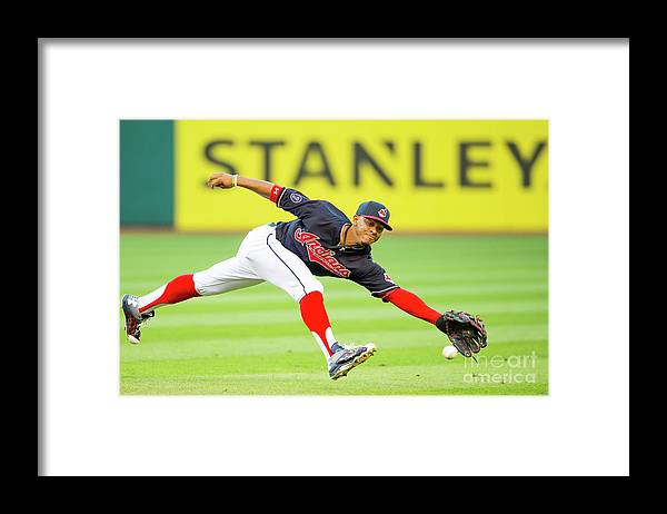 People Framed Print featuring the photograph Francisco Lindor and Chase Headley by Jason Miller