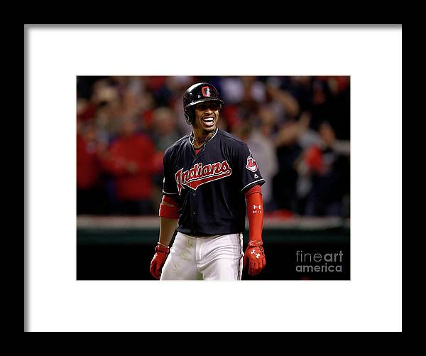 Three Quarter Length Framed Print featuring the photograph Francisco Lindor and Marco Estrada by Maddie Meyer