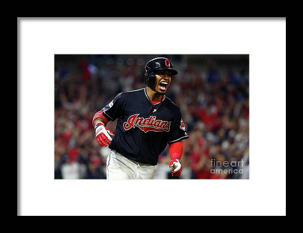 Game Two Framed Print featuring the photograph Francisco Lindor by Gregory Shamus