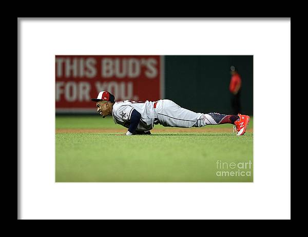 People Framed Print featuring the photograph Francisco Lindor by Patrick Smith