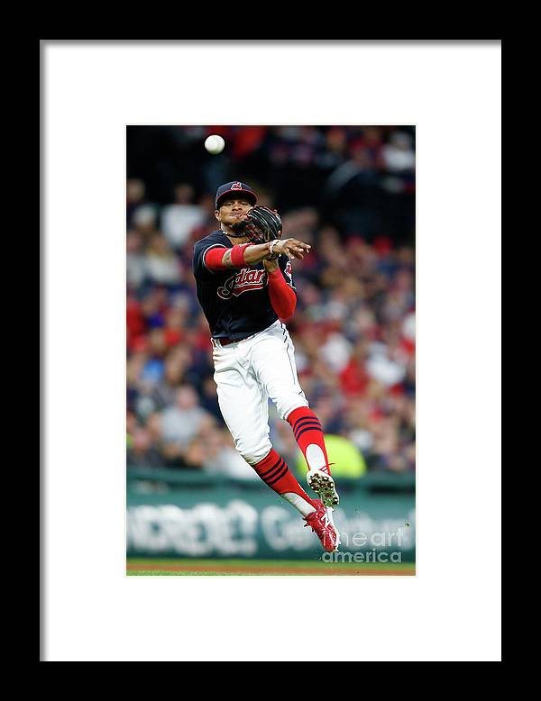 People Framed Print featuring the photograph Francisco Lindor by Ron Schwane