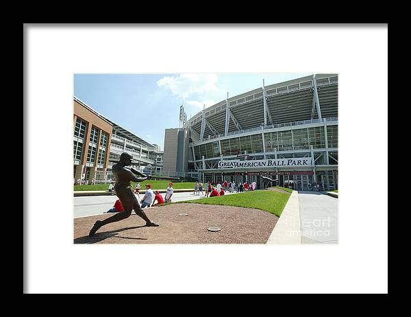 Great American Ball Park Framed Print featuring the photograph Frank Robinson by Andy Lyons