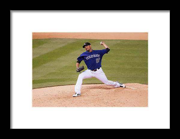 Baseball Pitcher Framed Print featuring the photograph Franklin Morales by Dustin Bradford