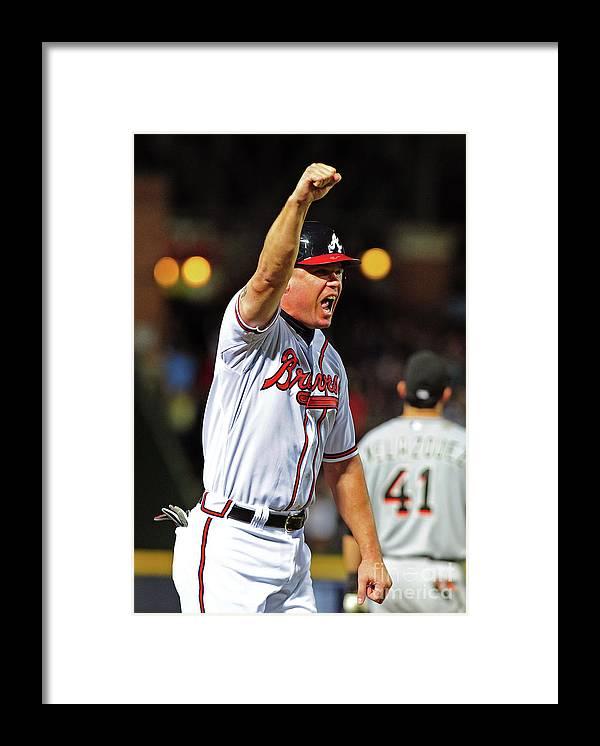 Atlanta Framed Print featuring the photograph Freddie Freeman and Chipper Jones by Scott Cunningham