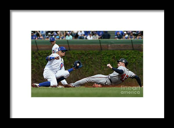 People Framed Print featuring the photograph Freddie Freeman and Javier Baez by David Banks