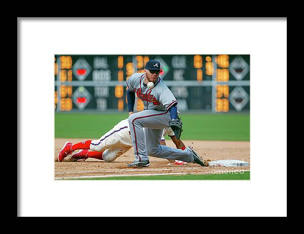Sports Ball Framed Print featuring the photograph Freddie Freeman and Jimmy Rollins by Rich Schultz