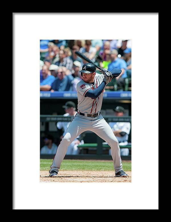 National League Baseball Framed Print featuring the photograph Freddie Freeman by Dustin Bradford