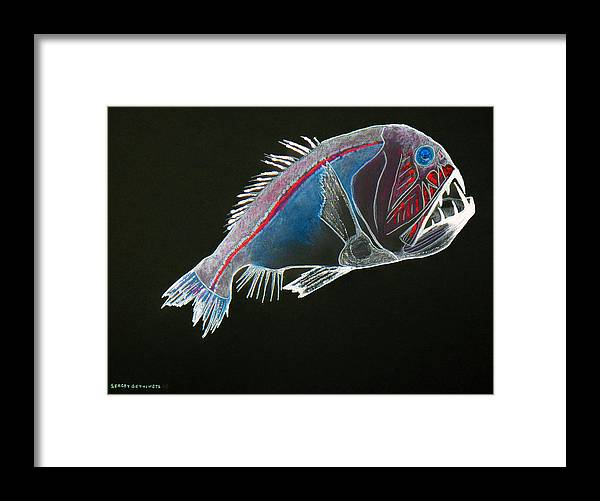 Fossil Framed Print featuring the drawing From The Abyss by Sergey Bezhinets