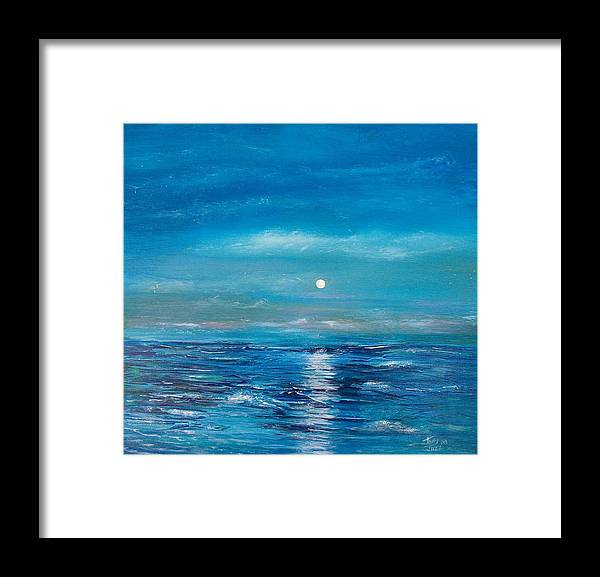 Fukk Moon Seascape Framed Print featuring the painting Full Moon Seascape by Tony Rodriguez