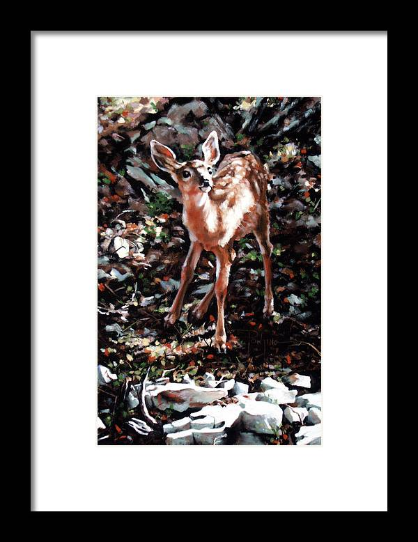 Deer Framed Print featuring the painting Garden Ornament by Dianna Ponting