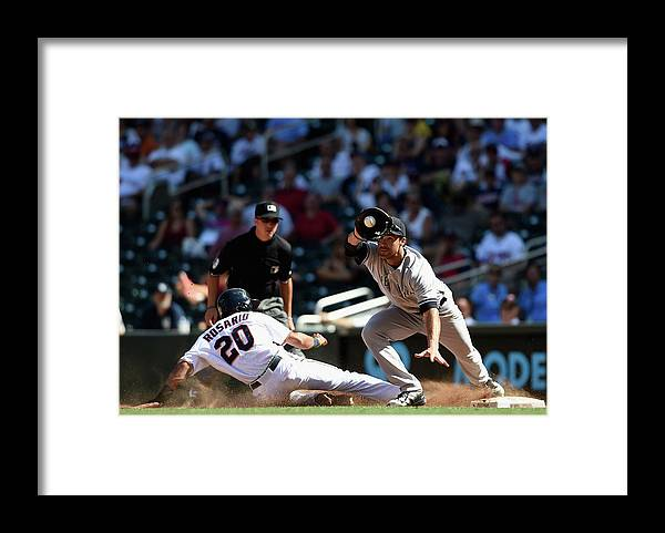 People Framed Print featuring the photograph Garrett Jones and Eddie Rosario by Hannah Foslien