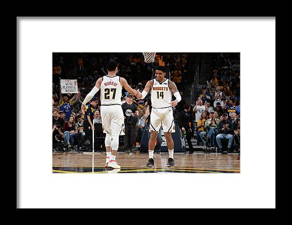 Nba Pro Basketball Framed Print featuring the photograph Gary Harris and Jamal Murray by Bart Young