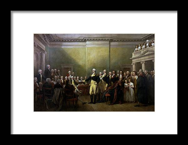 George Washington Framed Print featuring the painting General Washington Resigning His Commission by War Is Hell Store