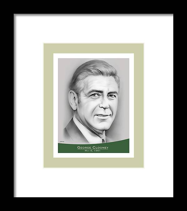 George Clooney Framed Print featuring the drawing George Clooney birthday by Greg Joens