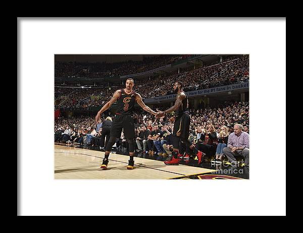 Playoffs Framed Print featuring the photograph George Hill and Lebron James by Jeff Haynes