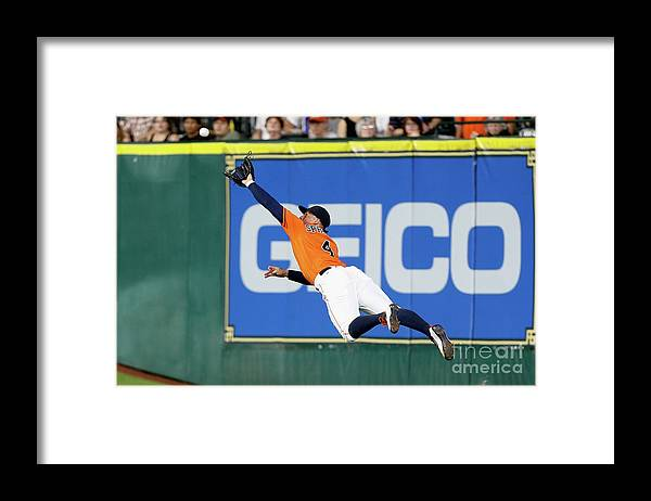 People Framed Print featuring the photograph George Springer and Adam Duvall by Bob Levey