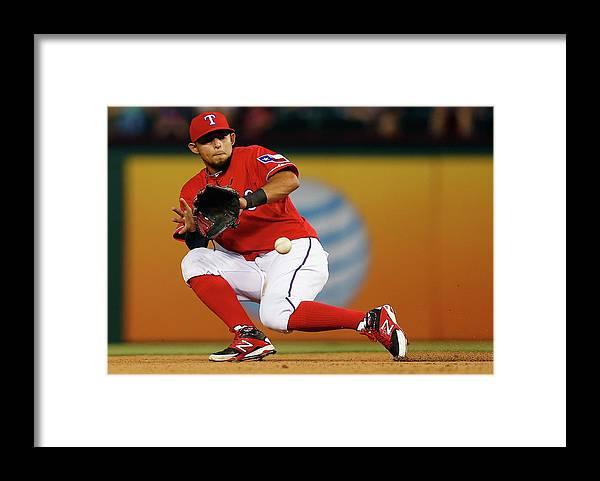 American League Baseball Framed Print featuring the photograph George Springer and Rougned Odor by Tom Pennington