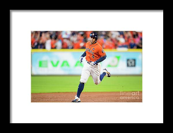 Game Two Framed Print featuring the photograph George Springer by Billie Weiss/boston Red Sox