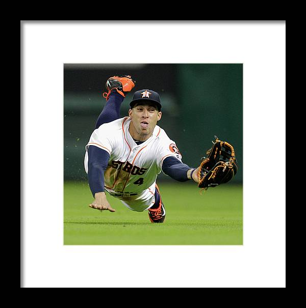 American League Baseball Framed Print featuring the photograph George Springer by Bob Levey