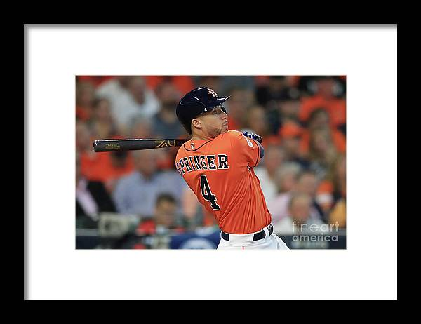 Game Two Framed Print featuring the photograph George Springer by Ronald Martinez