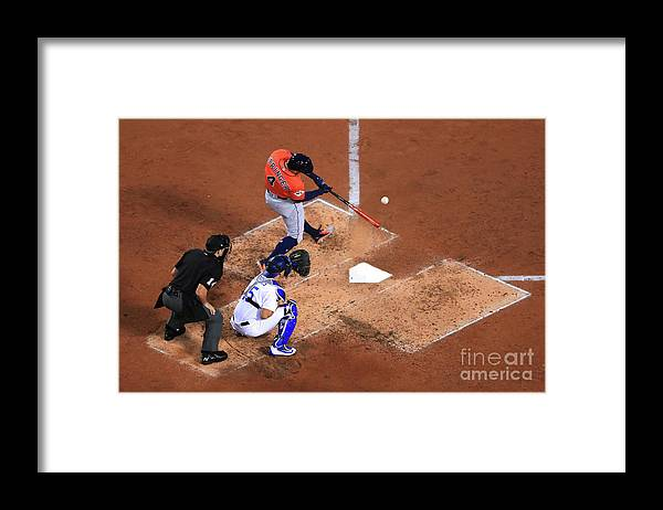 Second Inning Framed Print featuring the photograph George Springer by Sean M. Haffey