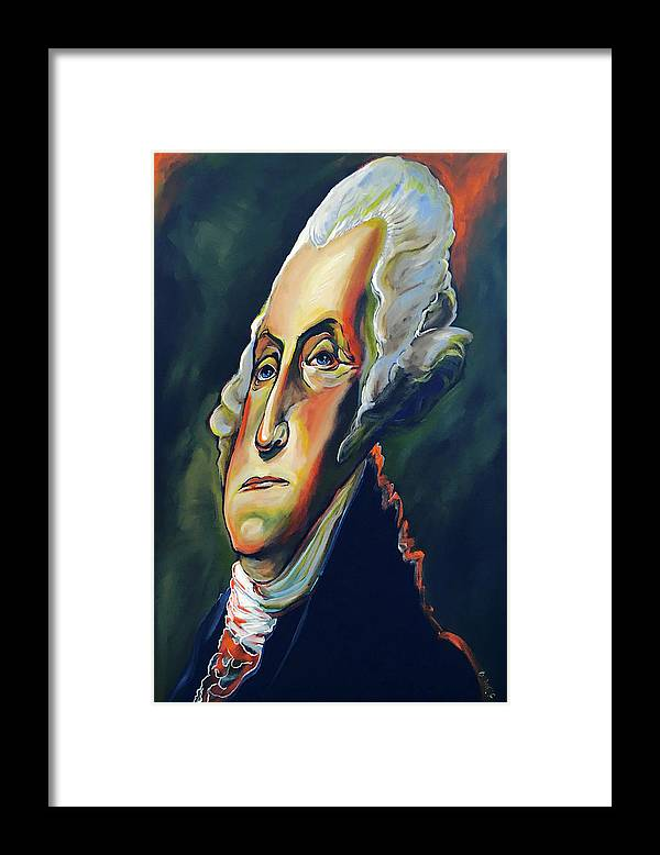 George Framed Print featuring the painting George Washington by Buffalo Bonker