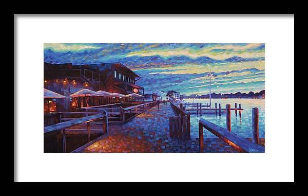 Georgetown South Carolina Coastal Harborwalk Big Tuna Landscape Seascape Charleston Framed Print featuring the painting Georgetown Harborwalk by Rob Buntin