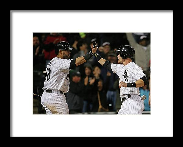 Three Quarter Length Framed Print featuring the photograph Geovany Soto and Gordon Beckham by Jonathan Daniel