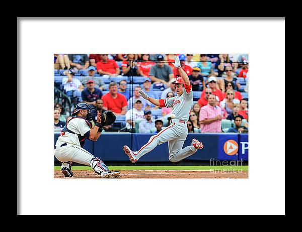 Atlanta Framed Print featuring the photograph Gerald Laird and Chase Utley by Daniel Shirey