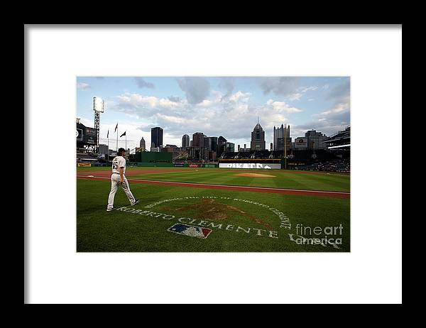 People Framed Print featuring the photograph Gerrit Cole and Roberto Clemente by Justin K. Aller
