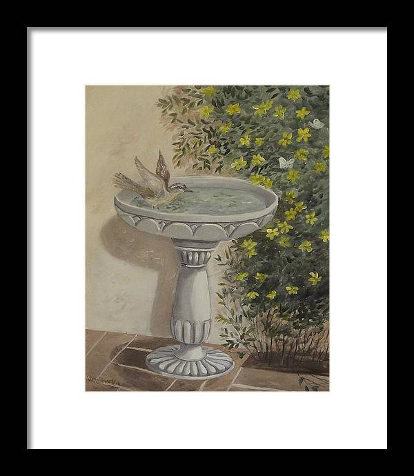 Wren Framed Print featuring the painting Getting The Dust Off by Wanda Dansereau
