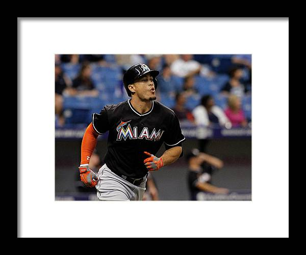 American League Baseball Framed Print featuring the photograph Giancarlo Stanton by Brian Blanco