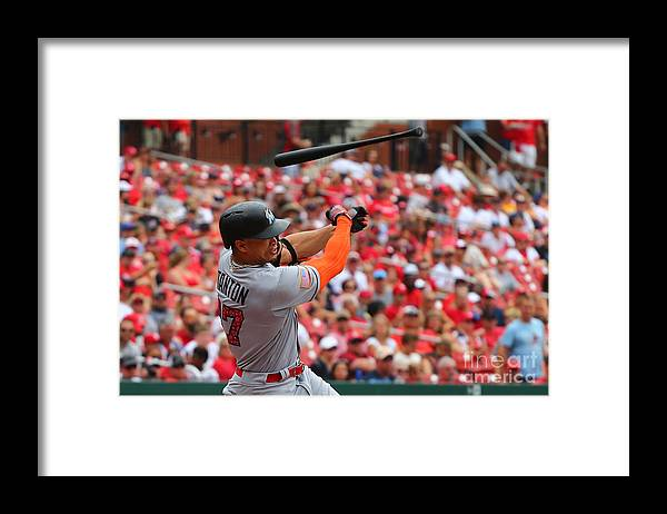Three Quarter Length Framed Print featuring the photograph Giancarlo Stanton by Dilip Vishwanat