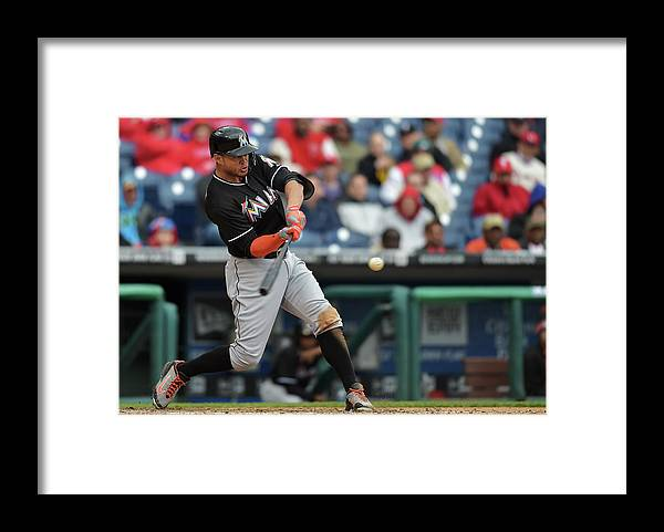 People Framed Print featuring the photograph Giancarlo Stanton by Drew Hallowell