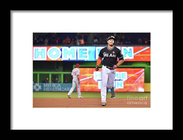 People Framed Print featuring the photograph Giancarlo Stanton by Eric Espada