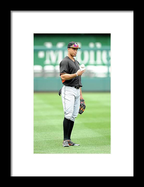American League Baseball Framed Print featuring the photograph Giancarlo Stanton by Greg Fiume