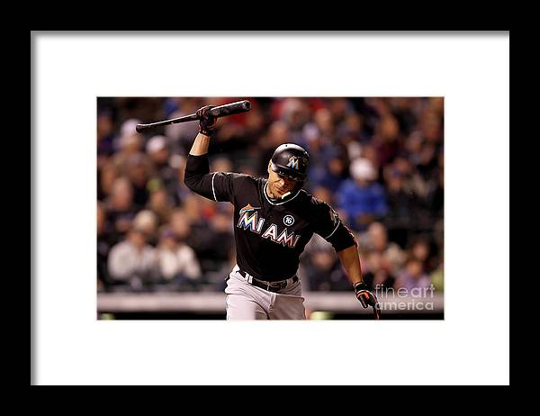 American League Baseball Framed Print featuring the photograph Giancarlo Stanton by Matthew Stockman