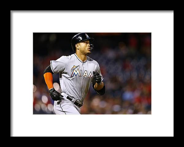Three Quarter Length Framed Print featuring the photograph Giancarlo Stanton by Rich Schultz
