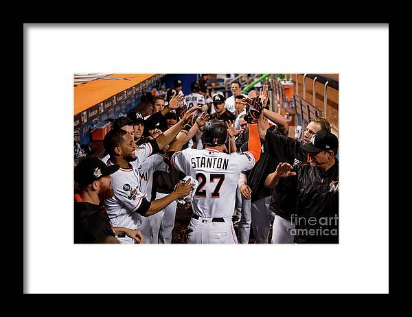 People Framed Print featuring the photograph Giancarlo Stanton by Rob Foldy/miami Marlins