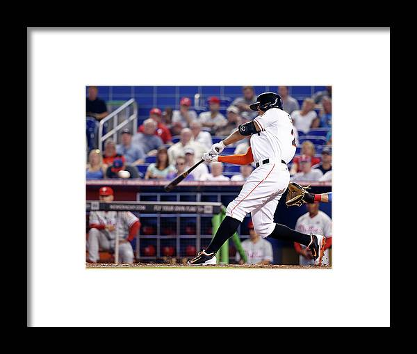 American League Baseball Framed Print featuring the photograph Giancarlo Stanton by Rob Foldy
